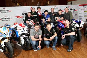 PACEMAKER BELFAST   23/03/2016 The launch of the 2016 Vauxhall International North West 200 at Titanic Belfast this evening. Front L/R William Dunlop, Jeremy McWilliams and Ryan Farquhar Back Row Alastair Seeley, Peter Hickman, Conor Cummins, Dan Kneen, Michael Rutter, Lee Johnston & John McGuinness Photo Stephen Davison/Pacemaker Press