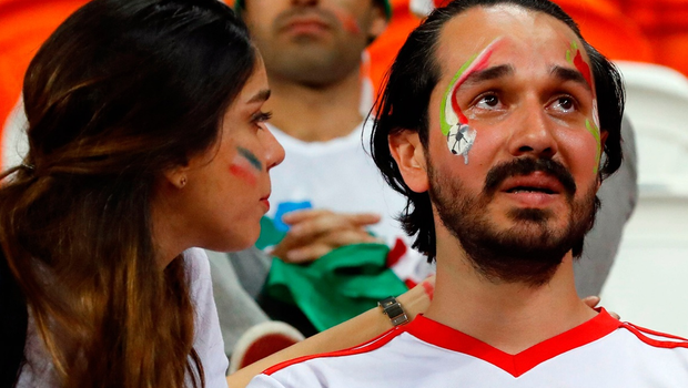 Iran's fans react at the end of the Russia 2018 World Cup Group B football match between Iran and Portugal at the Mordovia Arena in Saransk on June 25, 2018.