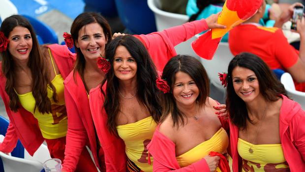 Spain's fans pose before the Russia 2018 World Cup Group B football match between Spain and Morocco at the Kaliningrad Stadium in Kaliningrad on June 25, 2018.