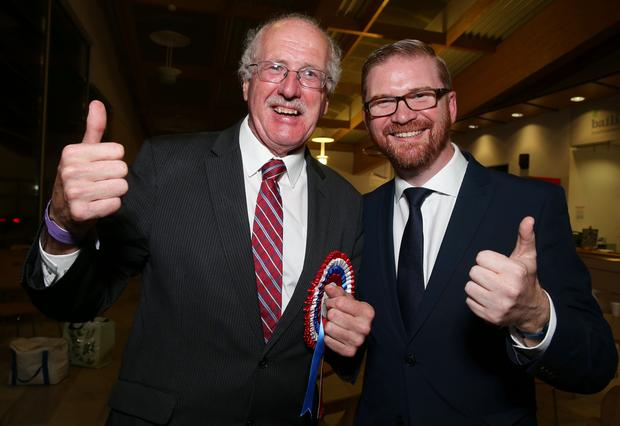 Winner: Jim Shannon (DUP)  with his electoral agent Simon Hamilton  during the  2017 Westminster Election  count at Aurora Leisure Complex, Bangor. Picture by Brian Little/PressEye