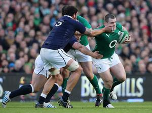 DUBLIN, IRELAND - FEBRUARY 02:  Jim Hamilton of scotland tries to tackle Cian Healy of Ireland during RBS Six Nations match between Ireland and Scotland at the Aviva Stadium on February 2, 2014 in Dublin, Ireland.  (Photo by Ian Walton/Getty Images)