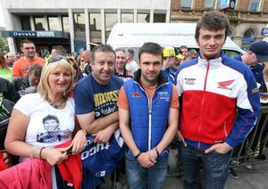Northern Ireland- 16th May 2014 Mandatory Credit - Picture - Matt Mackey/Presseye.com  Vauxhall International 2014 North West 200. Riders pictured at the meet and great in Coleraine town centre.  William Dunlop and Conor Cummins.