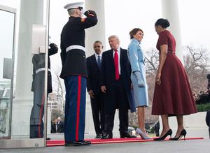 President Barack Obama and First Lady Michelle Obama welcome President-elect Donald Trump and his wife Melania Trump to the White House prior to the inauguration in Washington, D.C. on January 20, 2017. Later today Donald Trump will be sworn-in as the 45th President.  (Photo by Kevin Dietsch-Pool/Getty Images)