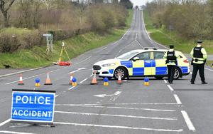 Police attended the scene of the serious one vehicle crash on Friday morning. Photo Colm Lenaghan/Pacemaker Press