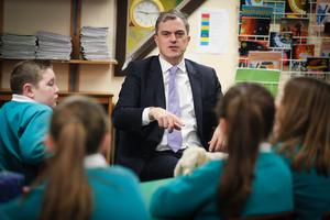 Secretary of State for Northern Ireland Julian Smith is pictured meeting pupils during a visit to Maghaberry Primary School in County Antrim this morning. Photo by Kelvin Boyes  / Press Eye.