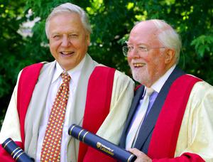 File photo dated 13/7/2006 of brothers Sir David (left) and Lord Richard Attenborough at Leicester University, where they spent their childhoods, after receiving a top academic honour at De Montfart Hall. Director and actor Lord Attenborough and TV naturalist Sir David were made distinguished honorary fellows of the University of Leicester during a ceremony. Lord Attenborough,  the acclaimed actor/director died at lunchtime yesterday aged 90, his son Michael told the BBC. PRESS ASSOCIATION Photo. Issue date: Monday August 25, 2014. See PA story DEATH Attenborough. Photo credit should read: Rui Vieira/PA Wire