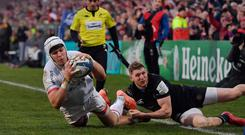 Ulster's Will Addison goes over for their third try in their win over Bath (Charles McQuillan/Getty Images)