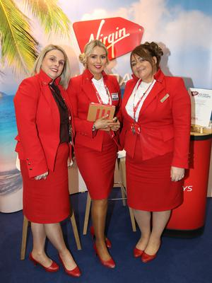 From left, Jackie Lee, Lisa Campbell and Jo Moore with Virigin Holidays attending the Belfast Telegraph World Travel Show. Photo by Peter Morrison