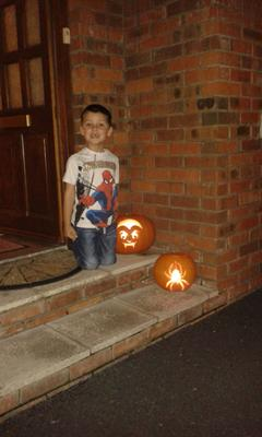 Jenson Wright (5) from Portadown with his pumpkins 2015. Pic: Joanne Wright