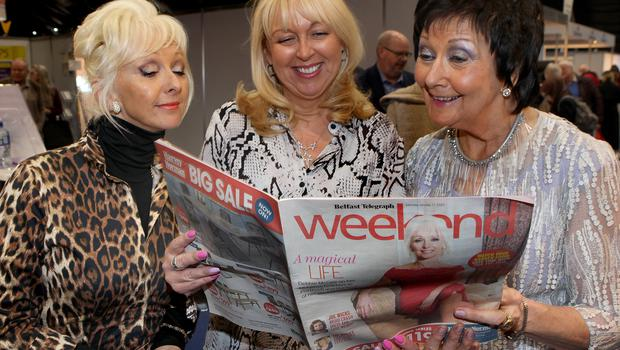 Debbie Magee,  Belfast Telegraph senior sales manager Jackie Reid and Maureen Ledwith, Holiday World Show.
