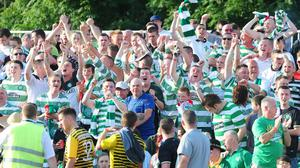 PACEMAKER BELFAST   17/07/2013 Cliftonville v Celtic Champions League football at Solitude in Belfast Celtic's fans pictured in action during this evenings game in North Belfast. Picture By: Arthur Allison/Pacemaker Press