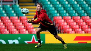 Wales fullback Liam Williams in action during the Wales kickers practice at Millennium Stadium on September 18, 2015 in Cardiff, Wales.