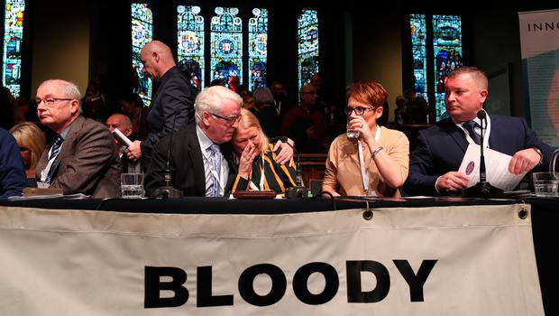 John Kelly comforts Alana Burke who was injured on Bloody Sunday reacts during the press conference at the Guildhall in Londonderry, Northern Ireland, after the announcement from the Public Prosecution Service that one former paratrooper, soldier F is to be charged with two murders and four attempted murders during Bloody Sunday in Londonderry in 1972. PRESS ASSOCIATION Photo. Picture date: Thursday March 14, 2019. See PA story ULSTER Sunday. Photo credit should read: Niall Carson/PA Wire