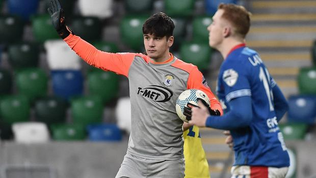 Dungannon's 16-year-old goalkeeper Connor Byrne kept his first Premiership clean sheet, denying international forward Shayne Lavery.