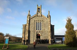 Funeral of Dr Ian Adamson arrives at Conlig Presbyterian church. Pic by Peter Morrison