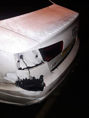 Police posted pictures of the damaged car. Pic PSNI.