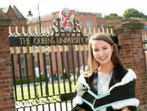 Chloe Simpson celebrates graduation success, with a degree in Drama and English from Queens University Belfast.