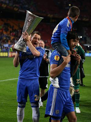 Chelsea's John Terry with the UEFA Europa League trophy after the UEFA Europa League Final at the Amsterdam Arena, Amsterdam, Holland. PRESS ASSOCIATION Photo. Picture date: Wednesday March 15, 2013. See PA story SOCCER Chelsea. Photo credit should read: John Walton/PA Wire. RESTRICTIONS: Use subject to restrictions. Editorial use only when not based solely on any team and/or any player(s) and/or devoted to the UEFA Europa League. No commercial use. Call 44 (0)1158 447447 for further information.