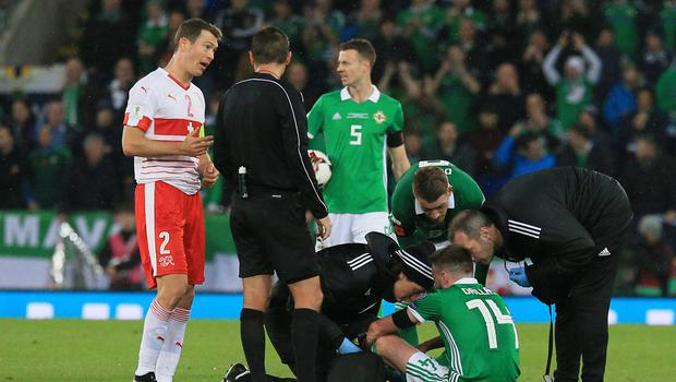 Pacemaker Belfast 9-11-17 Northern Ireland v Switzerland - World Cup Play-off Northern Ireland's Stuart Dallas receives treatment during this evenings game at the National Stadium, Belfast.  Photo by David Maginnis/Pacemaker Press