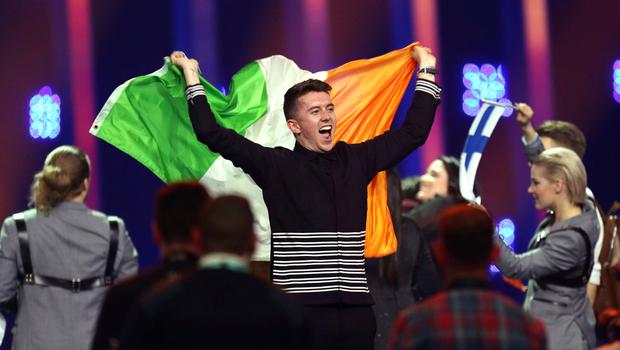 Ryan O'Shaughnessy from Ireland celebrates after securing a place in the final in Lisbon, Portugal. (AP Photo/Armando Franca)