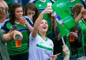 GAWA fans enjoying the excitement at the Fan Zone Titanic, Belfast. Picture by Freddie Parkinson/Press Eye ©