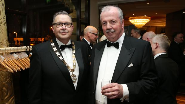 IoD Chairman Paul Terrington and Liam Daniel at the Institute of Directors NI Annual Dinner at the Europa Hotel on Thursday night. Sponsored by Bank of Ireland and Arthur Cox, the event is the highlight of the local business calendar and was attended by over 250 people.  Picture by Kelvin Boyes / Press Eye.