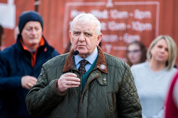 Billy Dickson speaking outside Belfast City Hall on the 7th anniversary of the Union Flag Protest. Credit: Liam McBurney/RAZORPIX
