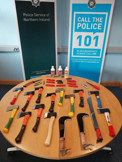 Weapons seized by police. Credit: PSNI
