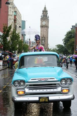 Press Eye - Belfast - Northern Ireland - 2nd August 2014 - Picture by Kelvin Boyes  / Press Eye.  General view of of the 2014 Belfast Pride parade in Belfast city centre this afternoon.  Thousands of people attended the annual Gay Pride parade in Belfast city centre.  Now in its 24th year, the Belfast parade is claimed to be the largest of its kind on the island of Ireland.  The parade will left Custom House Square and make its way through the city centre.