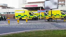 The scene outside Craigavon Area Hospital last month