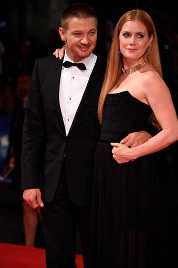 VENICE, ITALY - SEPTEMBER 01:  Actor Jeremy Renner wearing a Jaeger-LeCoultre watch and actress Amy Adams attends the 'Arrival' premiere during the 73rd Venice Film Festival at the Palazzo del Casino on August 31, 2016 in Venice, Italy.  (Photo by Ian Gavan/Getty Images for Jaeger-LeCoultre)