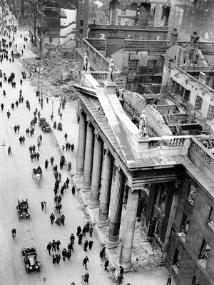 File photo dated 11/05/1916 of the ruins of the General Post Office viewed from the top of Nelson's Column , Dublin as rebels, proclaiming an Irish Republic, seized control of the building on the 24th April. PA