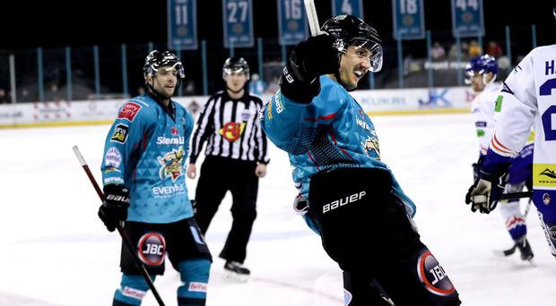 Belfast Giants winger Ben Lake celebrates scoring against the Coventry Blaze during Saturday night's game at the SSE Arena (William Cherry/Presseye)