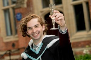 Emmet McGonagle celebrated his degree in English and Creative Writing from Queens University Belfast.