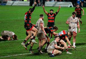 Gloucester's George Barton scores a dramatic late winner as Ulster players look on shell-shocked.