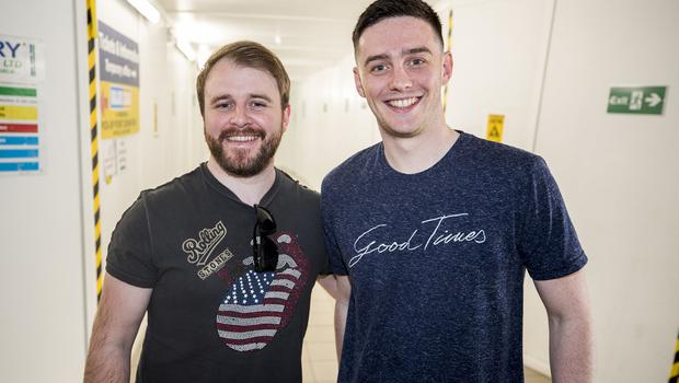 McBurney/Rolling Stones - 'STONES - NO FILTER' 2018 tour  Pictured Rolling Stones fans Anthony Di Lucia (L) and Donal O'Neill from Belfast as they journey from Belfast to Dublin for the first date of the 'STONES - NO FILTER' 2018 tour at Croke Park.  Date: Thursday 17th May 2018 Location: Central Station, Belfast Credit: Liam McBurney/RAZORPIX Copyright: Liam McBurney/RAZORPIX  Liam McBurney +44 7837 685767 +44 2890 660676 liammcburney@gmail.com