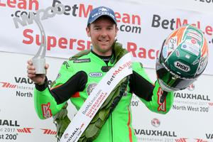 PressEye - Belfast - Northern Ireland - 13th May 2017  Vauxhall International North West 200 The BetMcLean.com Supersport Race  Pictured: BetMcLean.com Supersport race winner, Alastair Seeley.  Picture: Philip Magowan / PressEye