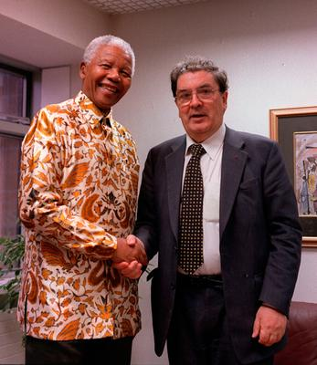 Handout File photo dated 12/04/2000 of Former South African President Nelson Mandela meeting John Hume at the South African Embassy in Dublin Photo: PA Wire