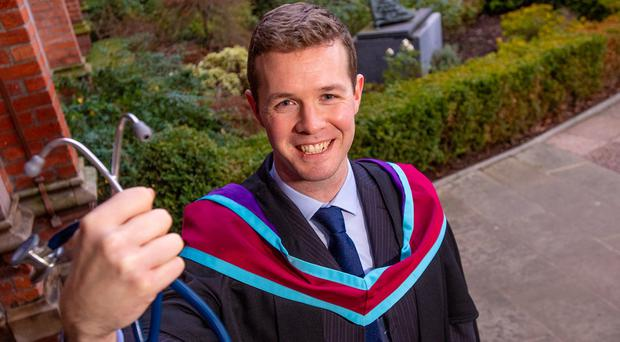 Gerard Walls (29) graduates today with a masters in clinical education from the school of medicine, dentistry and biomedical sciences at Queen's University. Gerard, from Newbridge, Co Londonderry, undertook the degree after receiving funding from local charity, Friends of the Cancer Centre