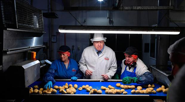 Prime Minister Boris Johnson helps quality control workers during a general election campaign visit to the Tayto Castle crisp factory in County Armagh, Northern Ireland, on November 7, 2019. (Photo by Daniel LEAL-OLIVAS / POOL / AFP) (Photo by DANIEL LEAL-OLIVAS/POOL/AFP via Getty Images)