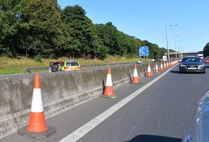 M2 northbound closed due to serious crash. In Belfast the M2 northbound between Sandyknowes and Greencastle at Junction 2 to Junction 4 has been closed. Traffic is being diverted via the M5 at J3 Greencastle and along the M5 to the A2 Shore Road. Picture By: Arthur Allison/Pacemaker Press