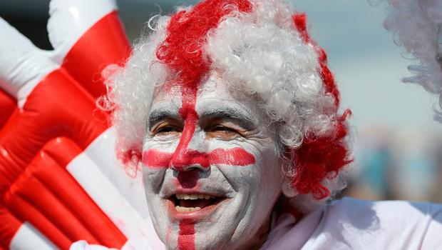 An England fan in Nizhny Novgorod ahead of their match against Panama in the 2018 FIFA World Cup in Russia.