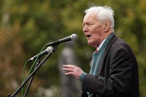 LONDON, ENGLAND - OCTOBER 08:  Tony Benn, president of the Stop the War Coalition and former politician, addresses the crowd at the 'Antiwar Mass Assembly' organised by the Stop the War Coalition in Trafalgar Square on October 8, 2011 in London, England. The demonstration sees prominent  campaigners and artists calling for the British Government to immediately withdraw troops from Afghanistan.  (Photo by Oli Scarff/Getty Images)