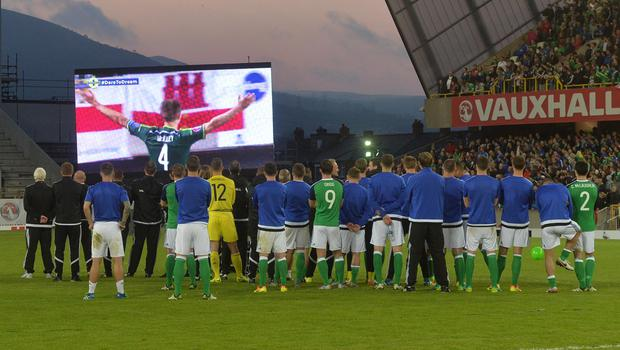 PACEMAKER BELFAST   27/05/2016 Northern Ireland v Belarus  Friendly International Northern Ireland players celebrate with the fans after  this evenings Friendly International at Windsor park. Photo Colm Lenaghan/Pacemaker Press