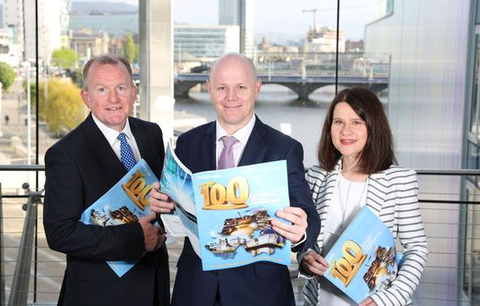 9 May 2017 - Picture by Darren Kidd / Press Eye. At the official launch of the Belfast Telegraph Top 100 Companies publication, in association with leading law firm Arthur Cox, are Richard McClean, Belfast Telegraph Managing Director, Kieran McGarrigle, Head of Finance at Arthur Cox, and Margaret Canning, Belfast Telegraph Business Editor. The launch event took place at Belfast Waterfront and was attended by leading figures from many of the companies named in the Top 100 list, including Kevin Kingston, Chief Executive Officer of first-placed company Danske Bank.