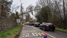 Porterstown Road was partially blocked at Luttrellstown Castle after a tree fell on to cables (Dublin Fire Brigade/PA)
