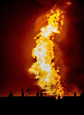The Craigyhill bonfire in Larne is lit on July 12th 2019 celebrating the victory of King William over King James during the battle of the Boyne (Photo by Kevin Scott for Belfast Telegraph)