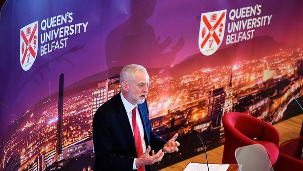 BELFAST, NORTHERN IRELAND - MAY 24:  Labour leader Jeremy Corbyn, delivers a speech at Queens University on May 24, 2018 in Belfast, Northern Ireland. Mr Corbyn was making his first visit to Northern Ireland since he was elected as Labour leader three years ago, during his speech in Belfast he insisted the he will not support any Brexit deal that supports a hard border with the Republic of Ireland.  (Photo by Jeff J Mitchell/Getty Images)