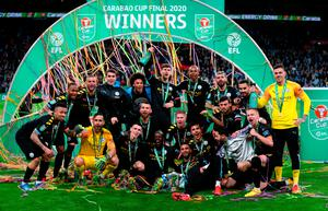 Manchester City celebrate another Wembley victory under boss Pep Guardiola