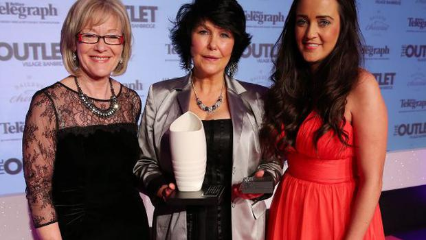 Belfast Telegraph Woman of the Year Awards in Association with The Outlet, Banbridge at the Ramada Hotel in Belfast. Inspirational Woman of the Year Margaret McGuckin, centre, with Gemma Bell, Diageo, and Wendy Austin, left